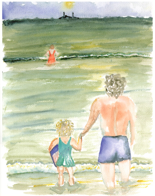"Page XX, ""The Girl Who Swam to Euskadi"" by Mark Kurlansky - With her father at the beach"